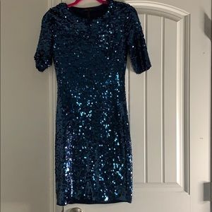 Small BCBG blue sequin dress